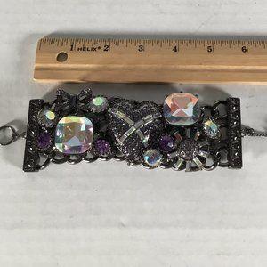 Betsey Johnson Violet Heart Flower Bow Bracelet